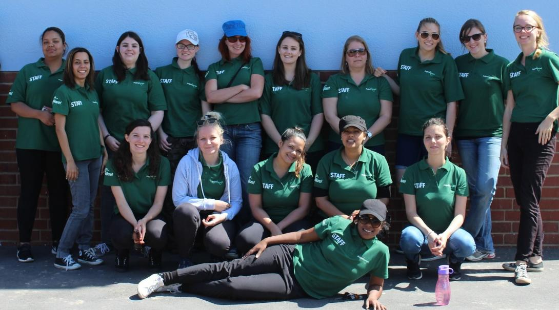 Projects Abroad staff taking a group photo during a community day in South Africa